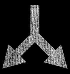 bifurcation arrow down fabric textured icon vector image vector image