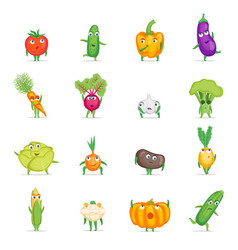 cartoon fresh healthy vegetables characters set vector image