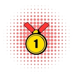 Champion gold medal icon comics style vector image
