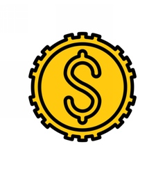 Coin outline icon vector image vector image