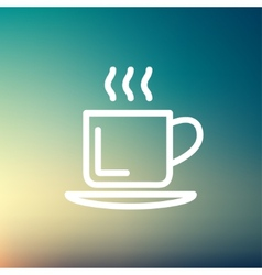 Cup of hot coffee thin line icon vector image