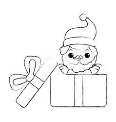 Cute santa claus in giftbox kawaii character vector