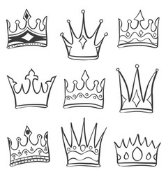 Doodle crown various sketch collection vector