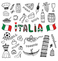 Doodle hand drawn collection of italy icons italy vector