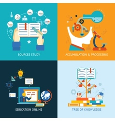 education icons in flat style vector image vector image