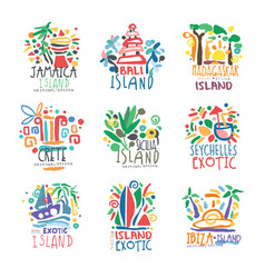 Exotic islands summer vacation colorful logo set vector