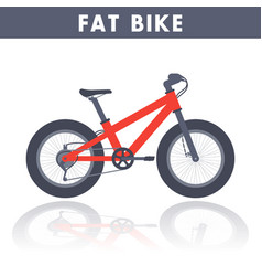 fat bike in flat style over white vector image vector image