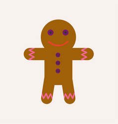 Ginger bread man with face and raisin buttoms vector