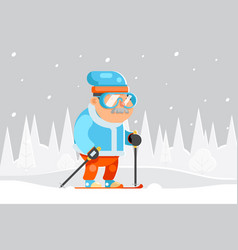 Granny skiing adult skier winter sports healthy vector