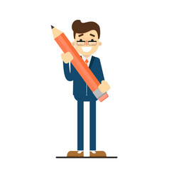 Happy businessman hold big pencil vector