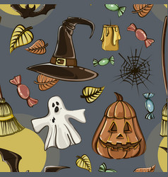 happy halloween hand drawn pattern vector image vector image