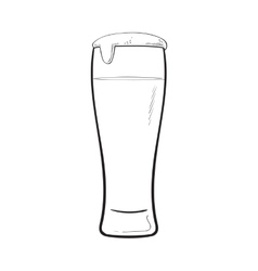 High glass of cold beer with foam and bubbles vector