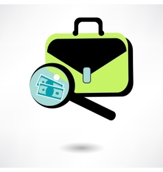 Icon business briefcase black with clipboard pen vector image vector image