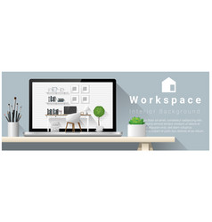 interior design of modern office workplace vector image vector image