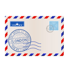 international mail envelope with london stamp vector image vector image
