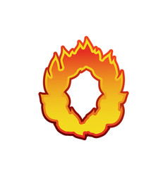letter o fire flames font lettering tattoo vector image vector image