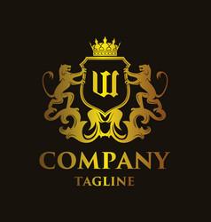 luxury letter w logo vector image vector image