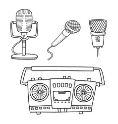 musical equipment retro tape recorders and vector image vector image