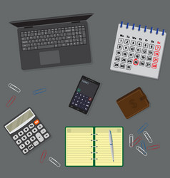 office table organzation with laptop notebook vector image