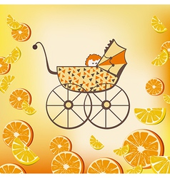 pram and fruits vector image