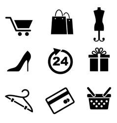 Retail and shopping icons vector image vector image