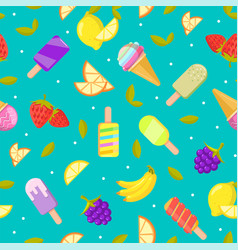 seamless ice cream pattern colorful cartoon vector image