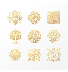 Set of abstract golden signs vector