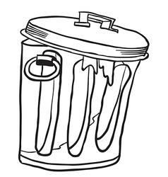 Simple black and white garbage can vector
