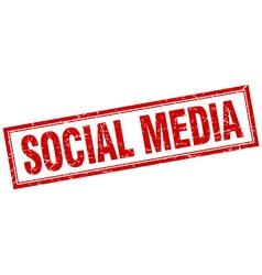 Social media red square grunge stamp on white vector