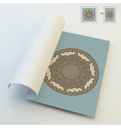 Textbook booklet or notebook mockup ethnic mandala vector