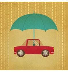 Vintage car under umbrella vector
