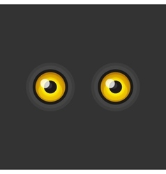 Yellow cartoon eyes on dark background vector
