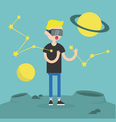 Young boy wearing virtual reality glasses vector