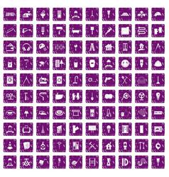 100 renovation icons set grunge purple vector