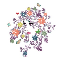 Summer girl with floral6 vector