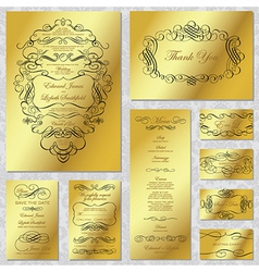 Gold wedding frame set vector