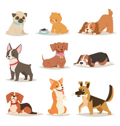 Funny cartoon dogs characters different breads vector