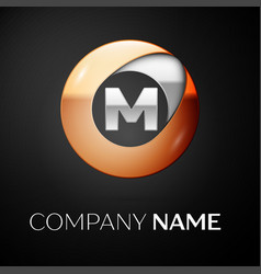 letter m logo symbol in the colorful circle vector image