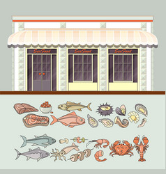 Shop and set of cute various seafood icons vector