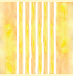 Stripes painted watercolor yellow vector