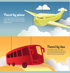 Travel by plane and bus paper cut out banner vector