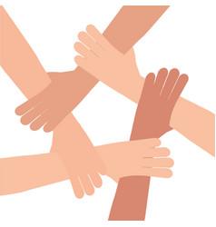 Human hand connection teamwork vector