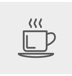 Cup of hot coffee thin line icon vector