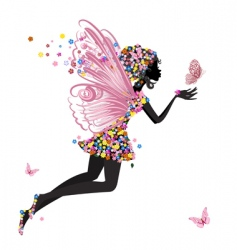 Flower fairy with butterfly vector