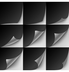 Set of 9 black paper curled corners with realistic vector image