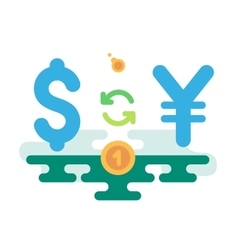 Dollar yen currency exchange vector
