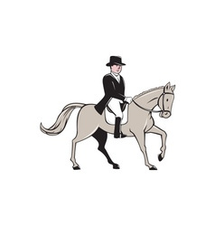 Equestrian rider dressage cartoon vector