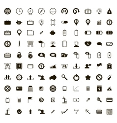 100 internet icons set simple style vector image