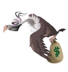 Cartoon vulture carries bag with money dollar vector