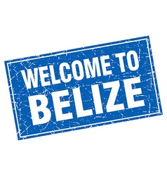 Belize blue square grunge welcome to stamp vector